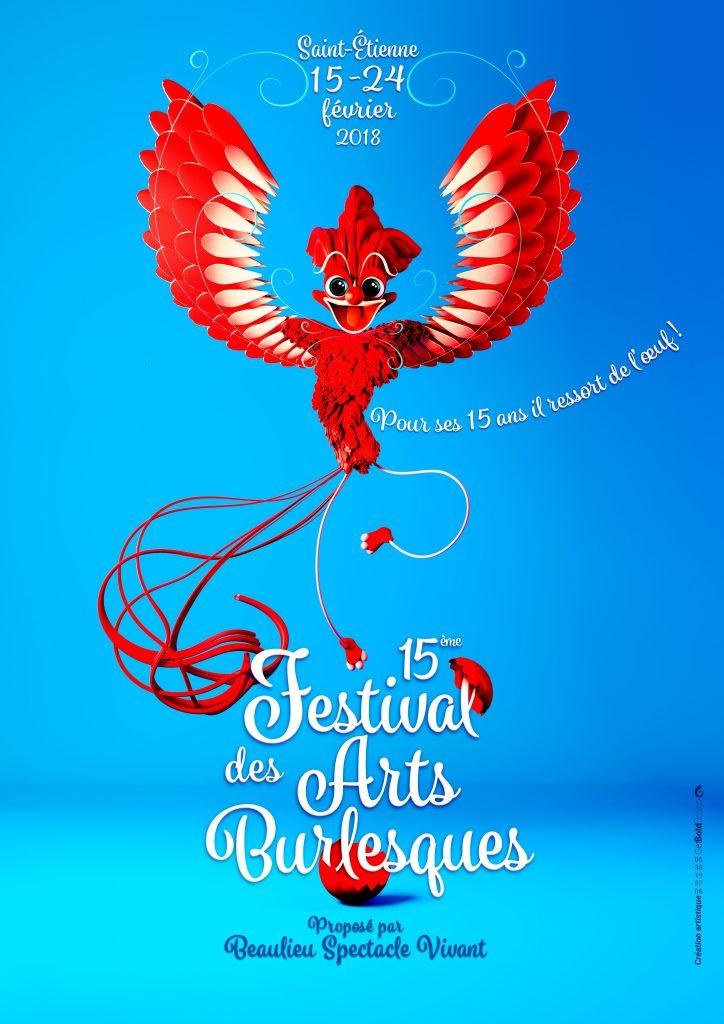Design graphique et création artistique 3D infographie et typographie avec création de logo d'un oiseau pour le festival des arts burlesques