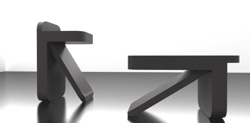 table basse et tabouret avec fond VIA
